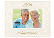 Malden Glazed Ceramic 50th Anniversary Picture Frame, 10cm by 15cm