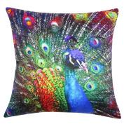 Hatop Peacock Pillow Case Sofa Waist Throw Cushion Cover Home Decor
