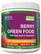 Parker Naturals Berry Green Food - Raw & Organic Greens Superfood with Goji, Acai & Raspberry - Complete Whole Food Supplement - 250ml, 240 grammes