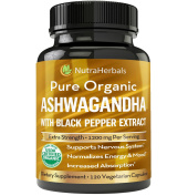 Organic Ashwagandha Root Powder 1200mg - 120 Veggie Capsules - Ashwaganda Supplement USDA Certified Organic – Black Pepper Extract For Increased Absorption