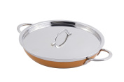 Bon Chef 60305 Stainless Steel/Aluminium Classic Country French Collection Saute Pan/Skillet with Cover and Double Handle, 2.2l Capacity, 25cm - 2.2cm Diameter x 5.1cm - 0.3cm Height, Orange