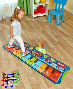 Fun Step-to-Play Junior Battery Operated Piano Mat with Flashing Lights and 20 Demo Songs for Kids .