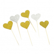 MagiDeal 20 Pcs Gold Glitter Heart Cupcake Cake Toppers Pick Wedding Bridal Party