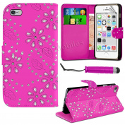 Diamond Leather Bling Sparkly Gem Flip Wallet Case Cover For iPhone 4/4s and iPhone