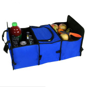 2 IN 1 Car Boot Organisers Bag Shopping Tidy Trunk Bag Collapsible Foldable Storage with Cooler Bag by Millya Black