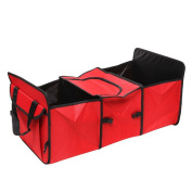 2 IN 1 Car Boot Organisers Bag Shopping Tidy Trunk Bag Collapsible Foldable Storage with Cooler Bag by Millya Red