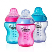 Tommee Tippee Closer to Nature Colour My World Feeding Bottles, Girl, 270ml, 3 Pack, Model