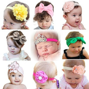 Mookiraer® Baby Girl Newest Round Dot Turban Headband Head Wrap Knotted Hair Band (MY2000) Colour