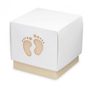 Pack of 10 Square Favour Boxes, Cardboard, White Base and Cafe Au Lait, with Lid 6x6x6 cm