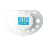Hello World dummy white/blue soother