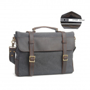 Estarer Canvas Messenger Bag Casual Shoulder Bags 40cm Laptop Briefcase Dark Grey