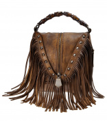 ZLYC Women's Ladies Genuine Leather Decorative bamboo hand strap Features Fringe Bohemian Tassel Studed Cross Body Bag