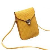Mini Pouch with Shoulder Strap for Ladies - PU Phone Pouch, Coin Purse, small shoulder bag Cross Body Bag - Yellow