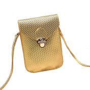Mini Pouch with Shoulder Strap for Ladies - PU Phone Pouch, Coin Purse, small shoulder bag Cross Body Bag - Golden