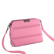 Qearly Weave Pattern Leather Small Shoulder Bag Mini Cross Body Bag Handbag With Strap-Pink