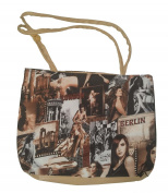 PVC Printed Hand Bag with Zip - Beige City Design Girls