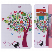 LEMORRY for for for for for for for for for for Samsung Galaxy Tab E 8.0 Case Leather Flip Wallet Pouch Slim Fit Bumper Protection Magnetic Strap Stand Card Slot Soft TPU Cover for Galaxy Tab E (20cm ) / T375 T377, Lucky Tree