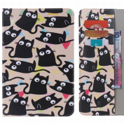 LEMORRY for for for for for for for for for for Samsung Galaxy Tab E 8.0 Case Leather Flip Wallet Pouch Slim Fit Bumper Protection Magnetic Strap Stand Card Slot Soft TPU Cover for Galaxy Tab E (20cm ) / T375 T377, Cute Cat