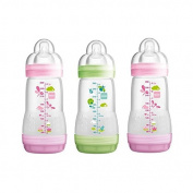 MAM Anti Colic Self-Sterilising Bottle 260ml, Pink & Green 3 per pack