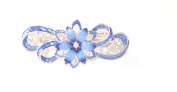 Bridal Wedding Prom Light Copper And Blue Tone Crystal 'Flower' Barrette Hair Clip