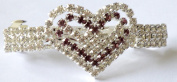 Bridal Wedding Prom Silver Tone Diamante Heart Barrette Hair Clip with complimenting purple .  crystals