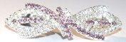 Bridal Wedding Prom Silver Tone Diamante 'Bow' Barrette Hair Clip with complimenting purple .  crystals