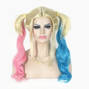 Generic Blonde Pigtail Wig Long Wavy Cosplay Costume Pink Blue Pony Tail Hairpiece