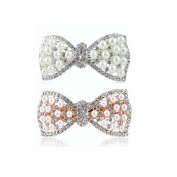 NK'store The new fashion Set Auger Crystal Rhinestone Alloy Bow Silver and Golden beauty hairpin hair clip barrette hair accessories hair ornament headdress for women girls female set of 2 pcs.