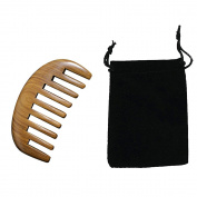 Portable Palm-sized Green Sandalwood Wooden Wide Tooth Hair Beard Comb with Storage Pouch Bag