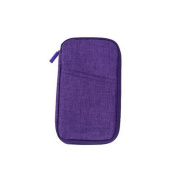 Chuangli Multifunction Travel Wallet Document Passport Storage Bags Card Purse Holder With Zipped Closure Purple