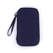 Chuangli Multifunction Travel Wallet Document Passport Storage Bags Card Purse Holder With Zipped Closure Navy Blue