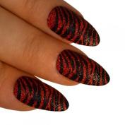 Bling Art Stiletto False Nails Fake Acrylic Red Black 24 Full Medium Tips UK
