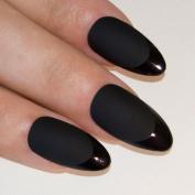Bling Art Stiletto False Nails Fake Acrylic Matte Black Full Cover Medium Tips