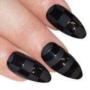 Bling Art Stiletto False Nails Fake Acrylic Black Matte Justice Medium Tips UK