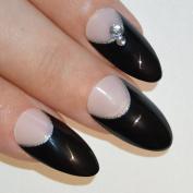 Bling Art Stiletto False Nails Fake Acrylic Black Crystal Full Medium Tips UK