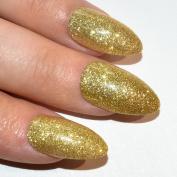 Bling Art Stiletto False Nails Gel Fake Acrylic Gold Glitter Medium 24 Tips UK