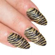 Bling Art Stiletto False Nails Fake Acrylic Gold Black 24 Full Cover Medium Tips