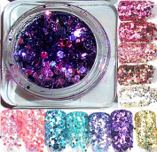 1 Jar Multi Glitzzzer #/193 High Gloss Glitter Mix # 12 Purple
