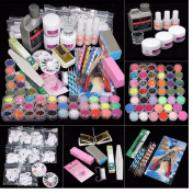 Beauty Set Kit, Yistu Universal 42 Acrylic Nail Art Tips Powder Liquid Brush Glitter Clipper Primer File Sets