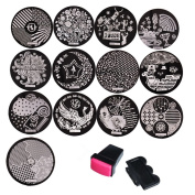 Biutee 13pcs New Designs Nail Stamping Plates Stainless Steel Nail Art Stamp Template Manicure Nail Tools