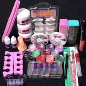 Kolylong® Pro Nail art tools 24 in 1 Acrylic Nail Art Tips Liquid Buffer Glitter Deco Tools Full Kit Set