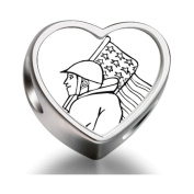 Bracelet Charm Bead military soldier US flag Heart Sterling Silver Charm Beads Biagi beads European Charms Bracelets