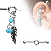 1 x Industrial Scaffold straight Piercing Bar Tribal Feather with Torquoise beads barbell
