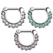 Septum Clicker with Crystals - 3 Colours Available (White, Green, Pink) - Septum Clicker Segment Ring Clicker with Folding Segment Ring in Silver with White, Green or Pink Zirkonia stones - Surgical Steel