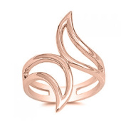 RS JEWELS Awesome Design 14k Rose Gold Over .925 Sterling Silver Adjustable Bypass Ring For Women