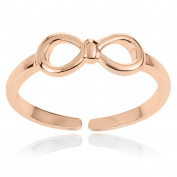 RS JEWELS Bow Emblem 14K Rose Gold Over 925 Sterling Silver Ring Silver Infinity Toe Ring Women