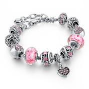 Silver Plated Sweet Pink Crystal Beads Murano glass Heart pendant charm bracelet for women Girls Jewellry Gift Long Way