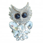 Sindary 6.5cm Lovely Bird Animal Owl Brooch Pin Clear Austrian Crystal Gold Tone UKB6510