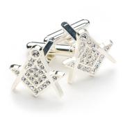 White Crystal Masonic Cufflinks with Cufflinks Box