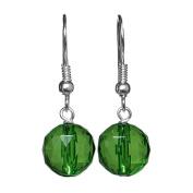 10mm Green Acrylic Faceted Bead / Ball Silver Plated Drop / Dangle Earrings Pair